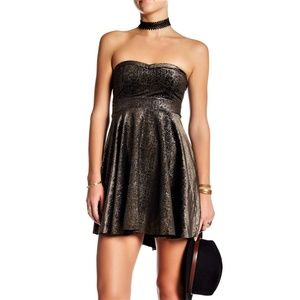 Free People Black Velour Dress Metallic Silver M